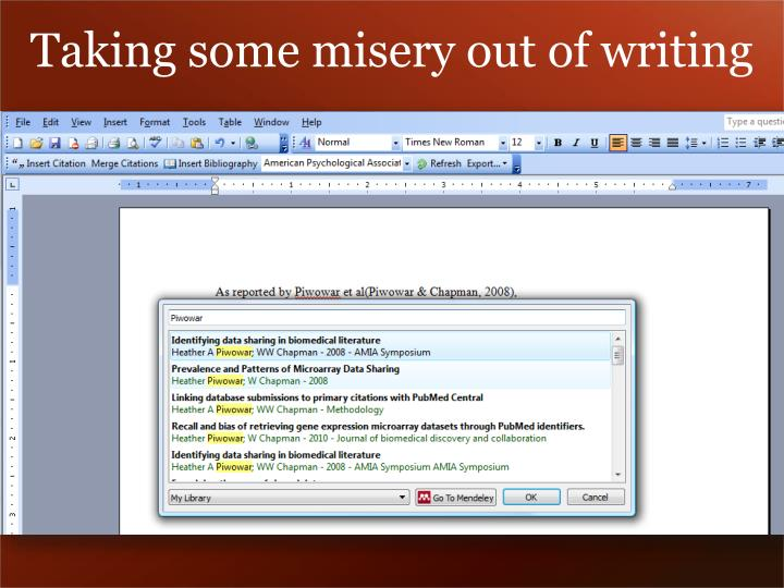 Taking some misery out of writing