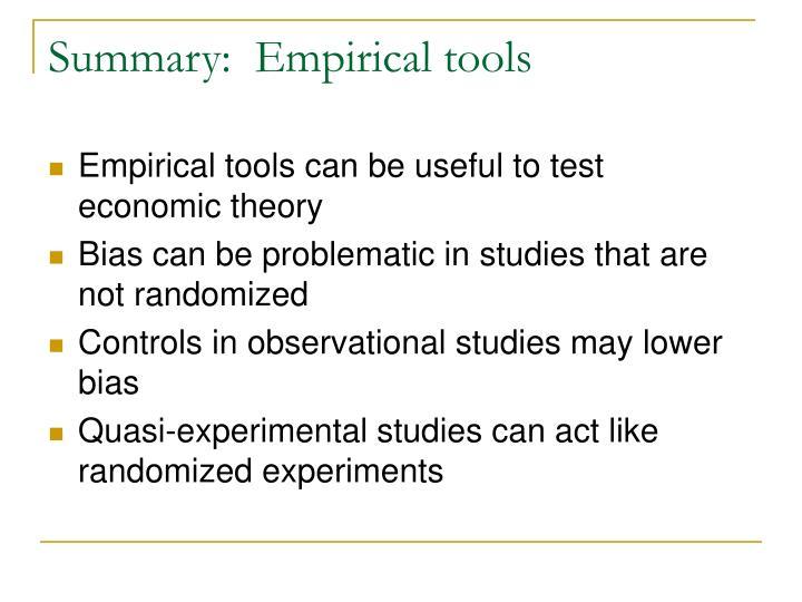 Summary:  Empirical tools