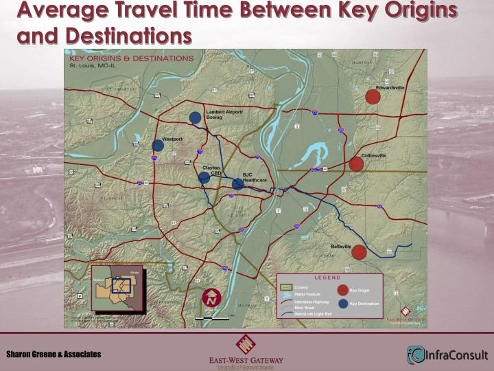Average Travel Time Between Key Origins and Destinations