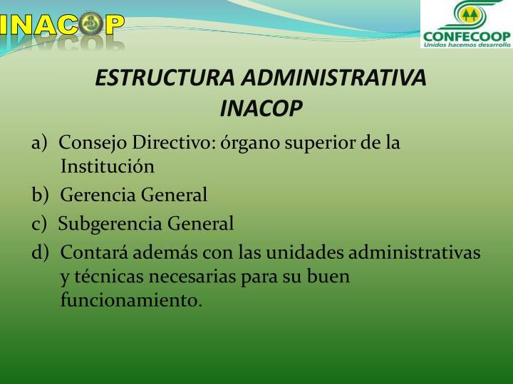 Estructura administrativa inacop