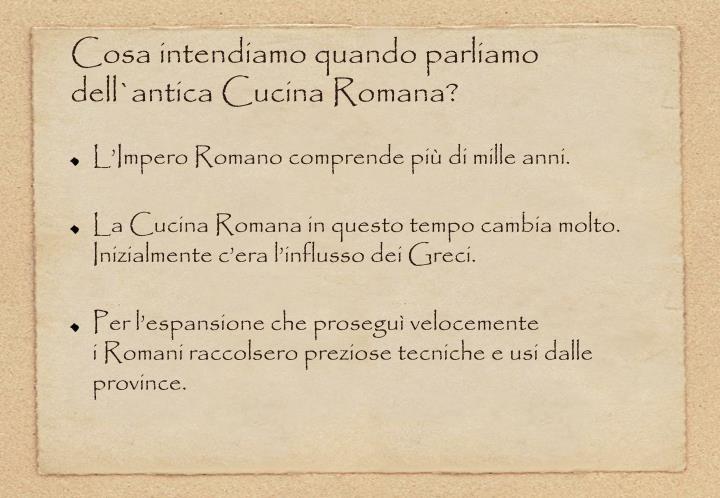 Ppt antichi romani a tavola la cucina romana antica for La cucina romana
