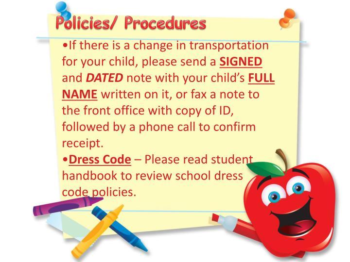 Policies/ Procedures