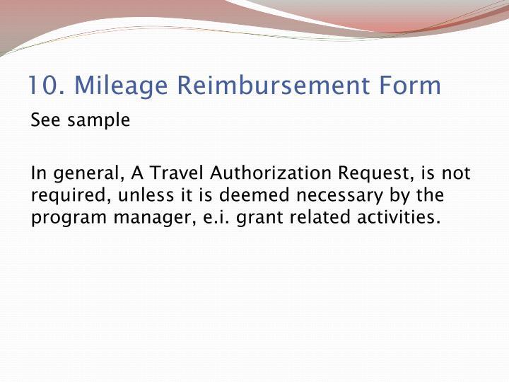 10. Mileage Reimbursement Form
