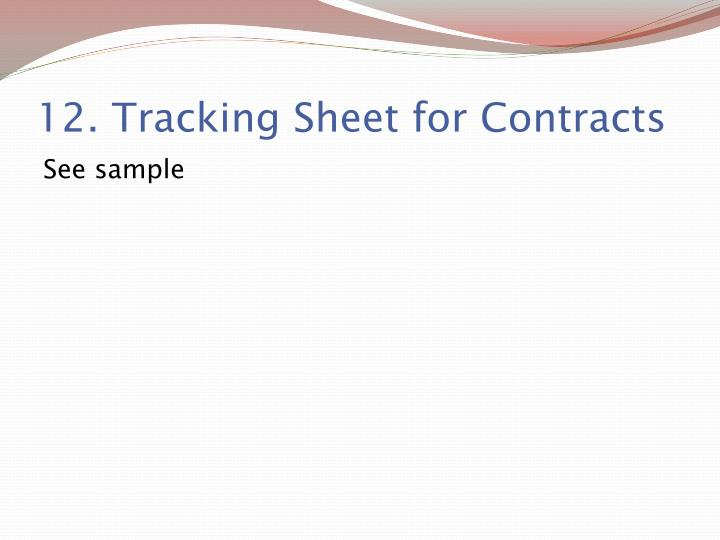 12. Tracking Sheet for Contracts