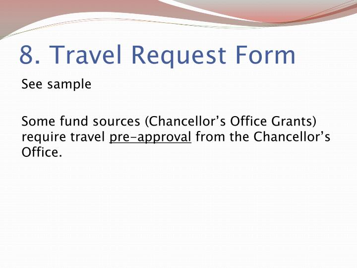 8. Travel Request Form