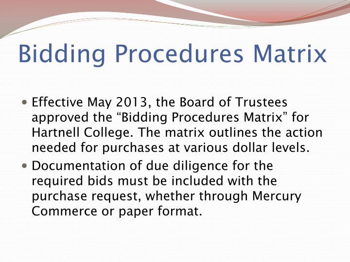 Bidding Procedures Matrix