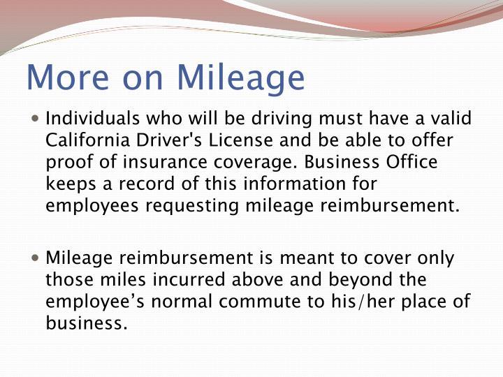 More on Mileage