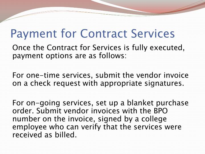 Payment for Contract Services