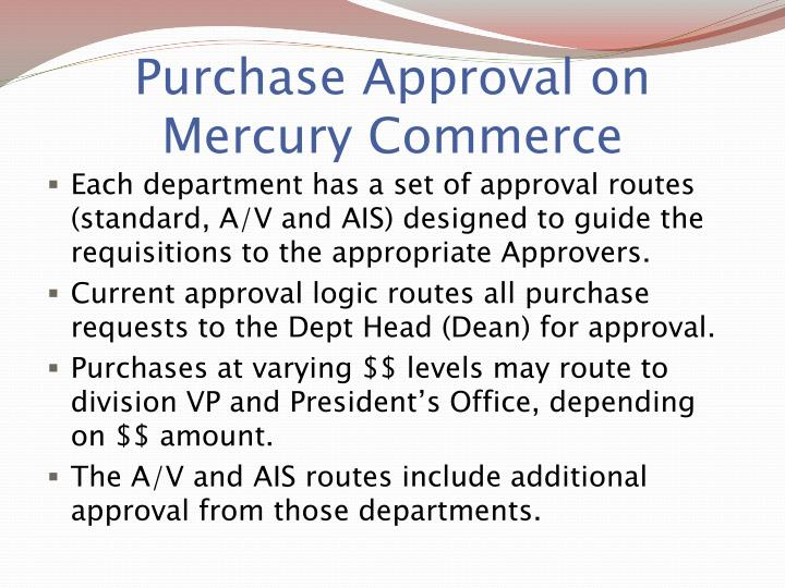 Purchase Approval on Mercury Commerce