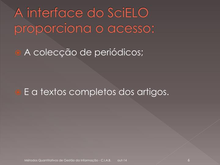 A interface do SciELO proporciona o acesso:
