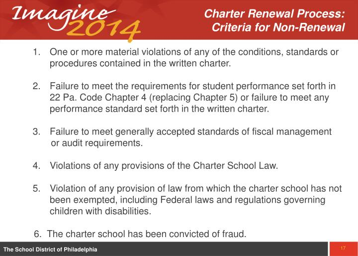 Charter Renewal Process:   Criteria for Non-Renewal
