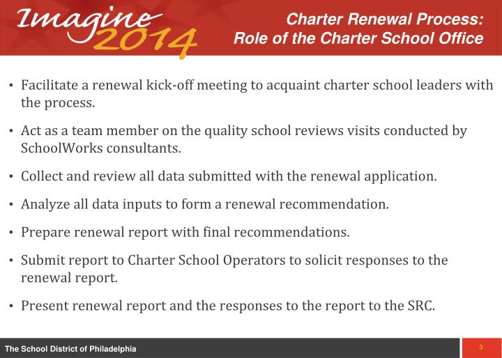 Charter Renewal Process:            Role of the Charter School Office