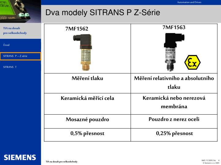 Dva modely SITRANS P