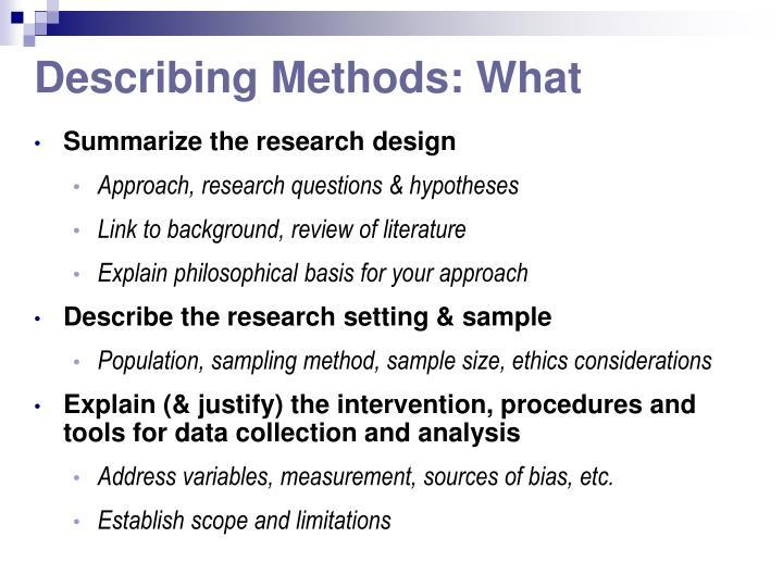 Describing Methods: What