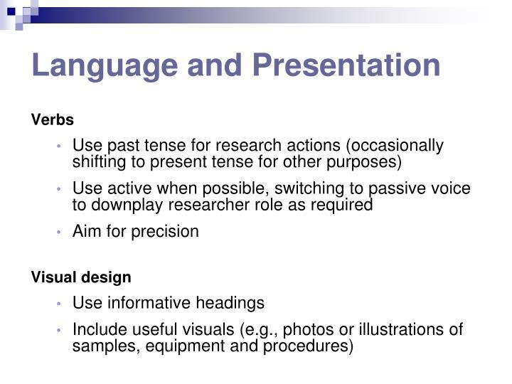 Language and Presentation
