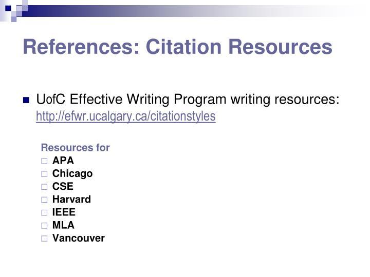 References: Citation Resources