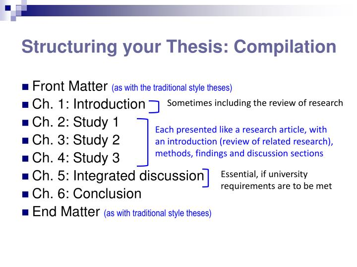 Structuring your Thesis: Compilation