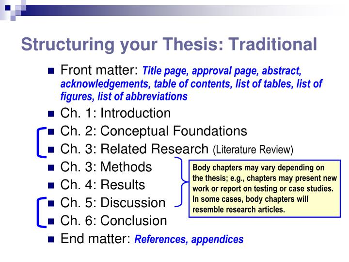 Structuring your Thesis: Traditional