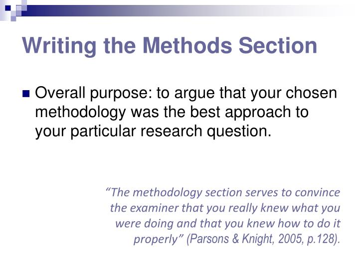 Writing the Methods Section
