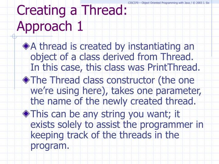 Creating a Thread: