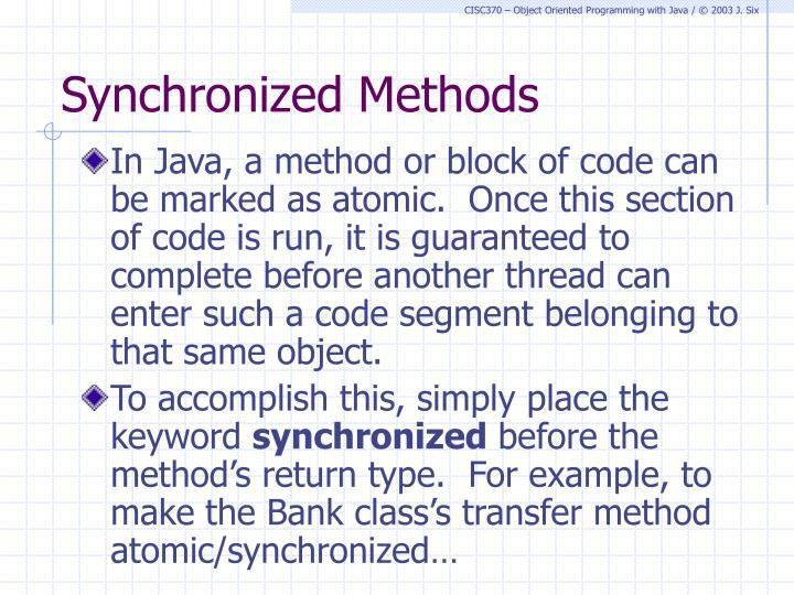 Synchronized Methods