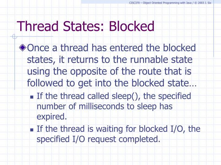 Thread States: Blocked