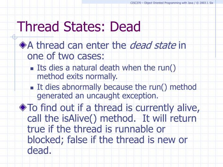 Thread States: Dead