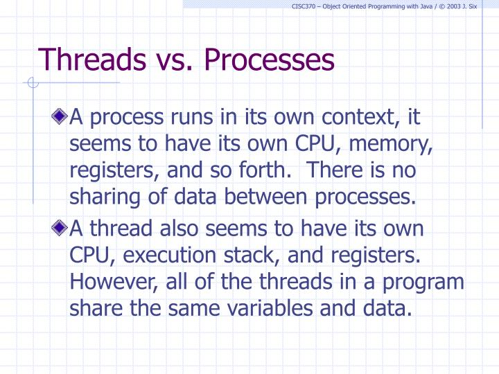 Threads vs. Processes