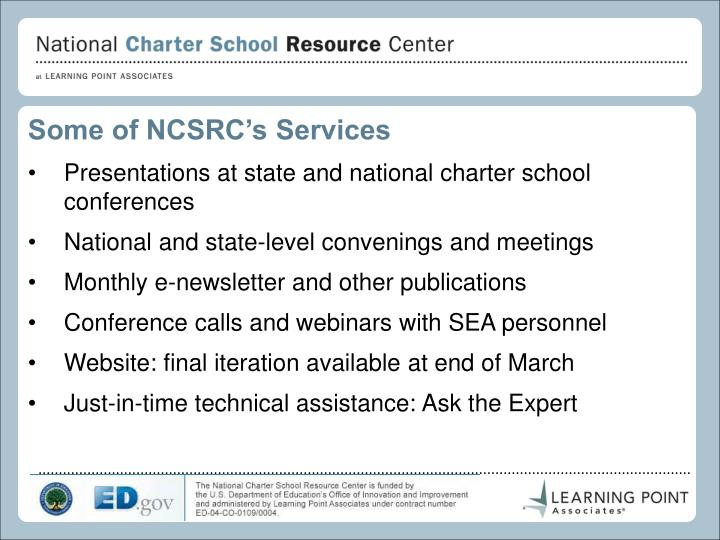 Some of NCSRC's Services