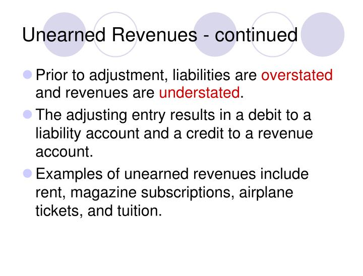 Unearned Revenues - continued