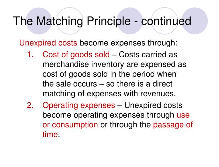 The Matching Principle - continued