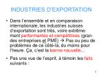 industries d exportation