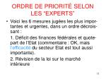 ordre de priorit selon les experts