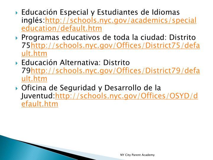 Educación Especial y Estudiantes de Idiomas inglés: