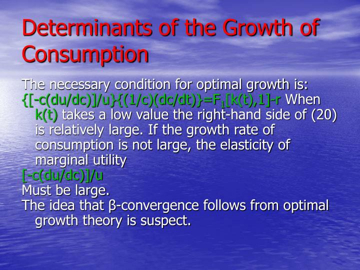 Determinants of the Growth of Consumption