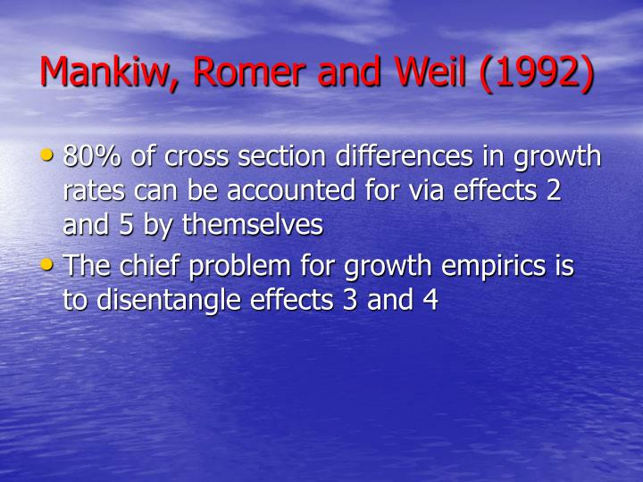 Mankiw, Romer and Weil (1992)