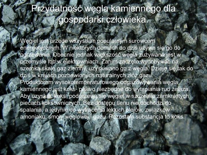 Przydatność węgla kamiennego dla gospodarki człowieka.