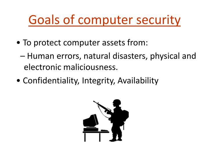 Goals of computer security