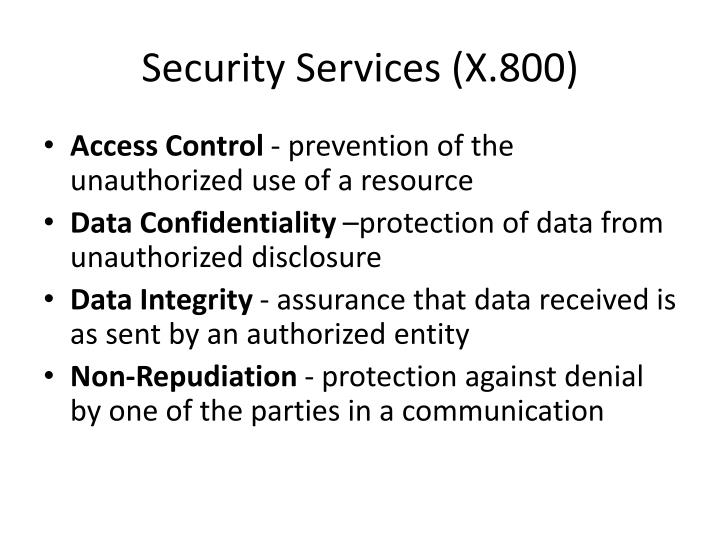 Security Services (X.800)