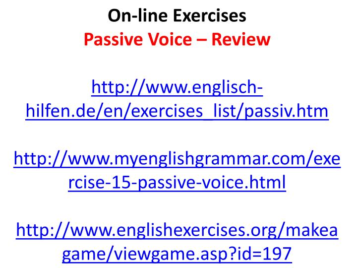 On-line Exercises