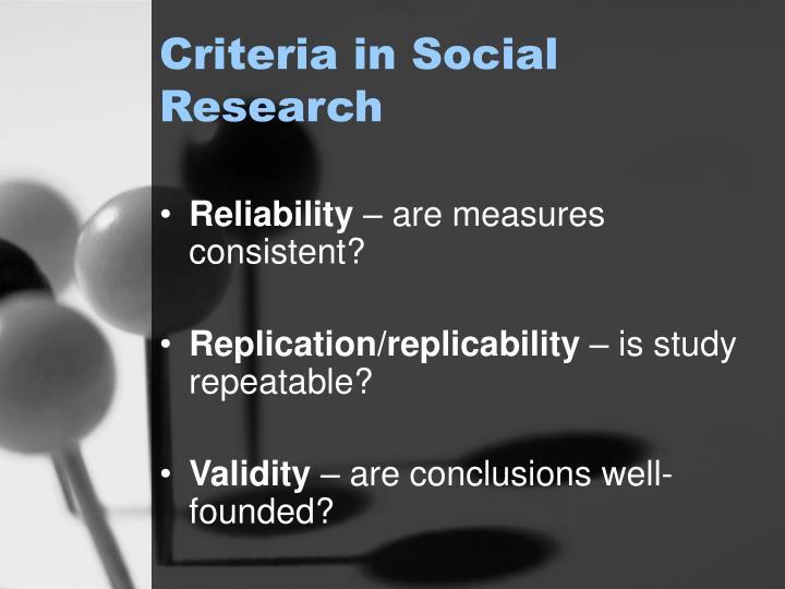 Criteria in Social Research