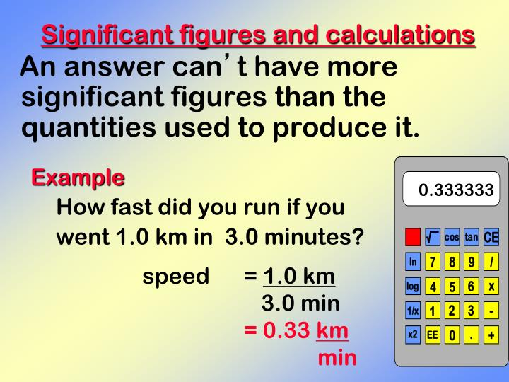 Significant figures and calculations