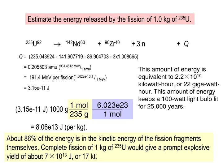 Estimate the energy released by the fission of 1.0 kg of