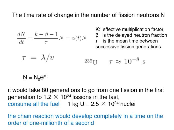 The time rate of change in the number of fission neutrons N