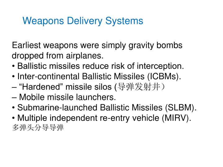 Weapons Delivery Systems