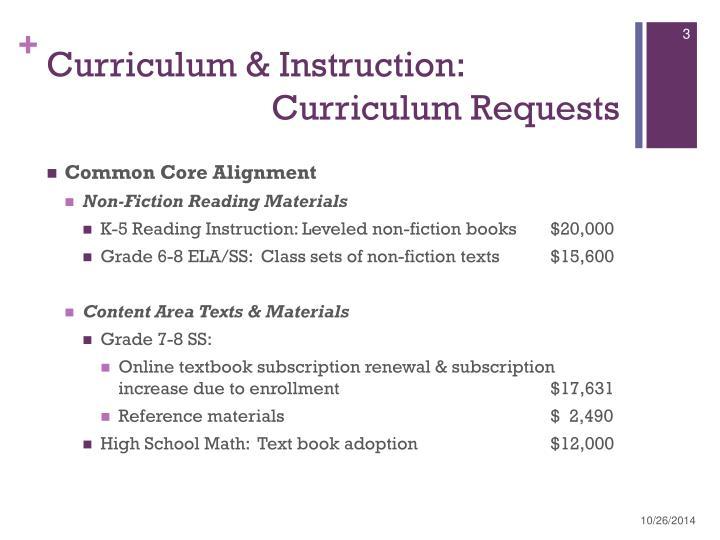 Curriculum instruction curriculum requests