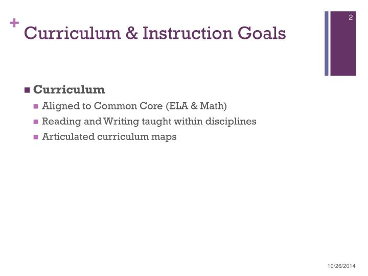Curriculum instruction goals