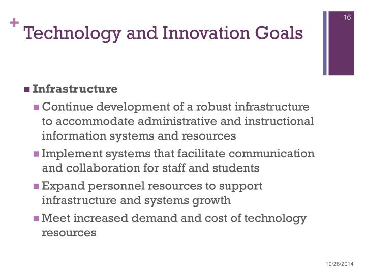 Technology and Innovation Goals