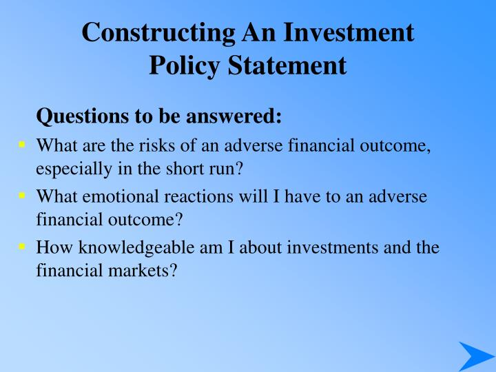 Constructing An Investment Policy Statement