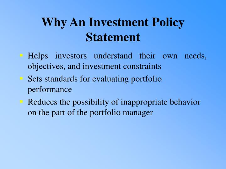 Why An Investment Policy Statement